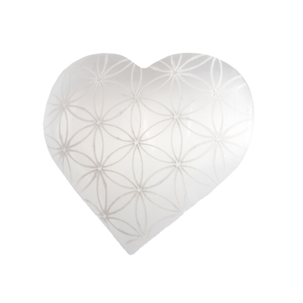 Closeup photo of Selenite Heart With Etched Flower Of Life