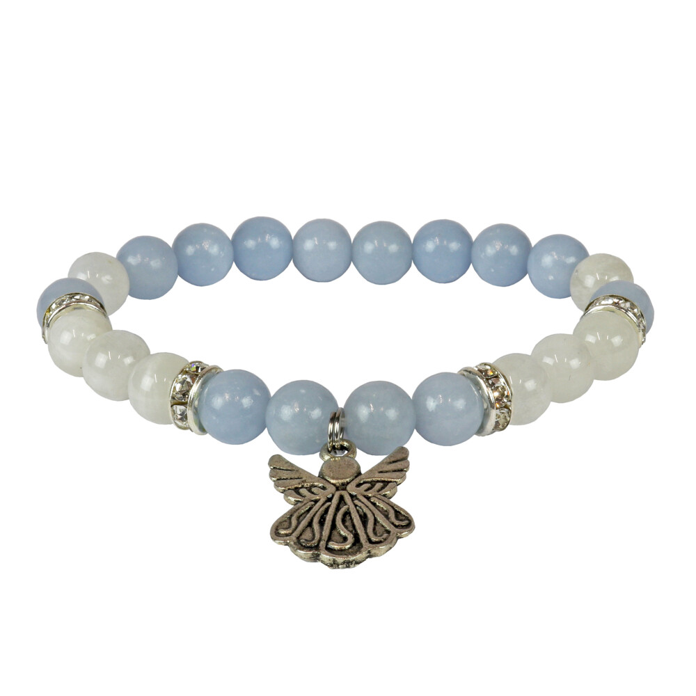 Angelite & Rainbow Moonstone Bracelet 8mm With Angel Charm