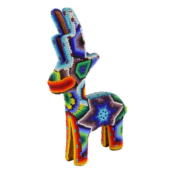 Closeup photo of Huichol Beaded Reindeer Statue