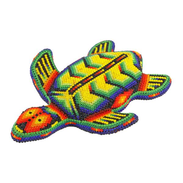 Closeup photo of Huichol Beaded Turtle Statue