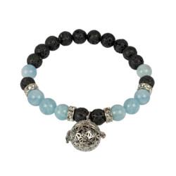 Closeup photo of Aquamarine & Lava Beaded Bracelet With Lava Bead Infuser