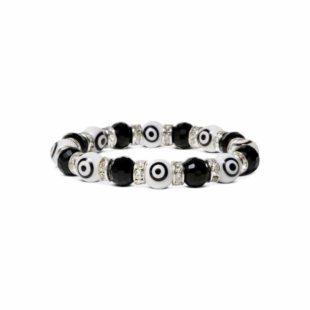 Crystal Bracelet -Black & White Evil Eye