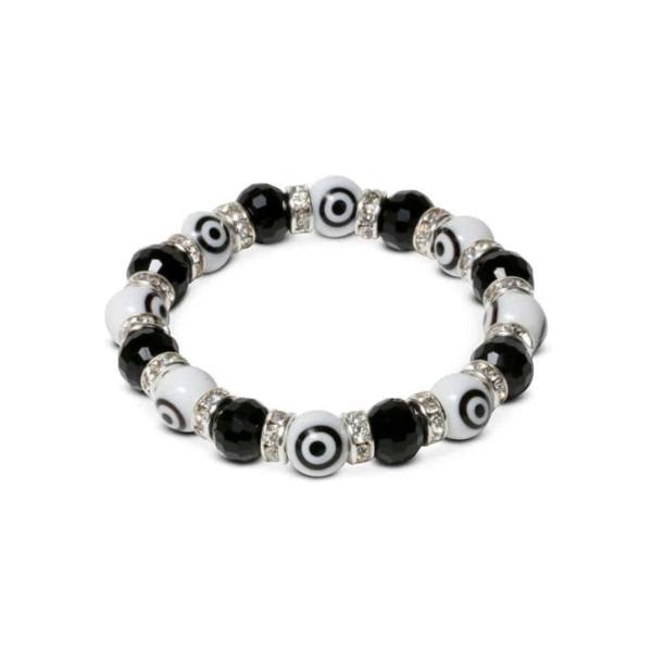 Closeup photo of Crystal Bracelet -Black & White Evil Eye