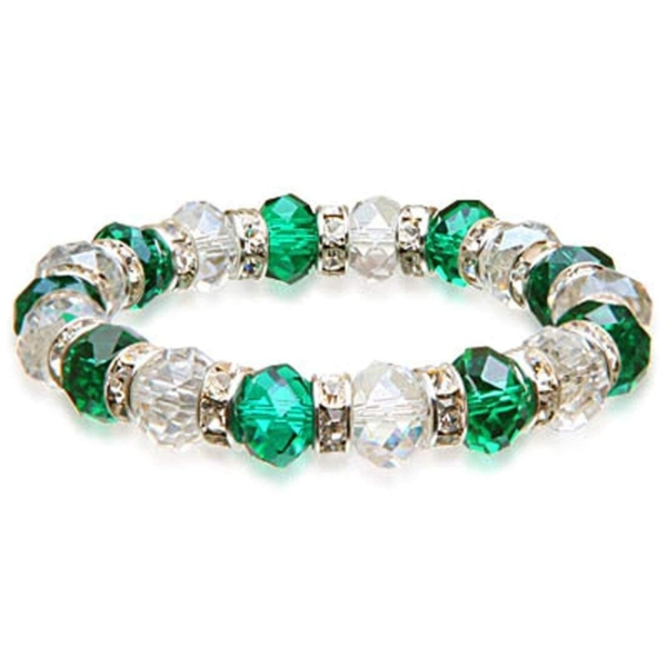 Closeup photo of Crystal Bracelet - Clear & Teal Color