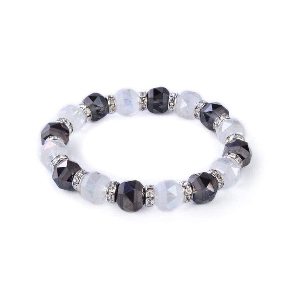 Crystal Bracelet - Clear & Hematite Color