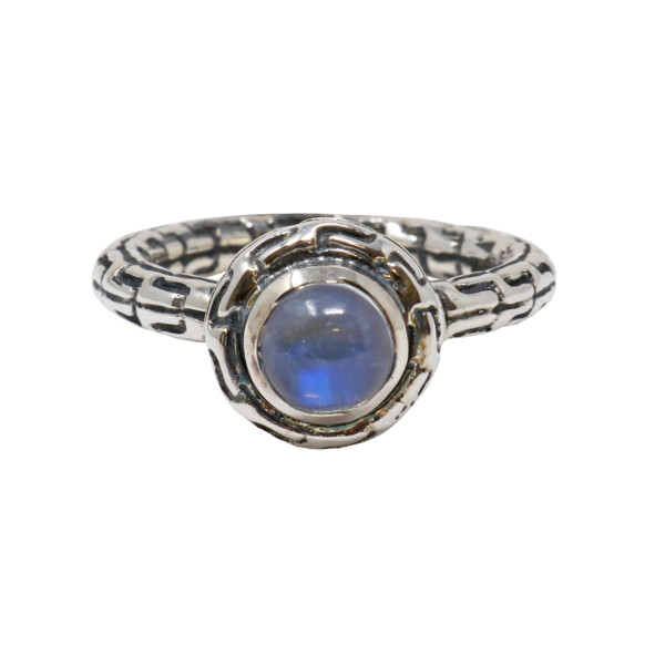 Closeup photo of Moonstone Ring Size 7 -Brilliant Round On Tube Design Band