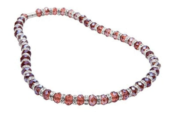 Closeup photo of Crystal Necklace - Wine Color