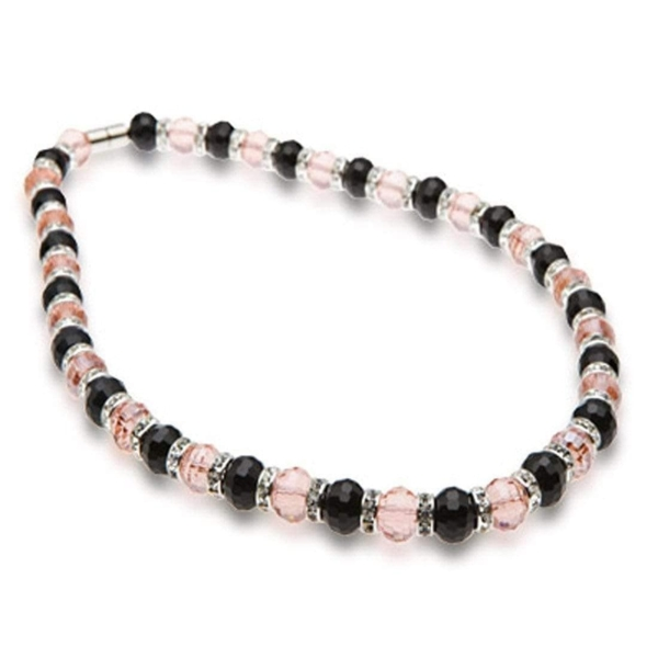 Closeup photo of Crystal Necklace - Black & Salmon Color
