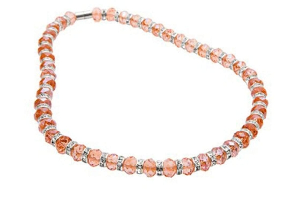 Closeup photo of Crystal Necklace - Salmon Color