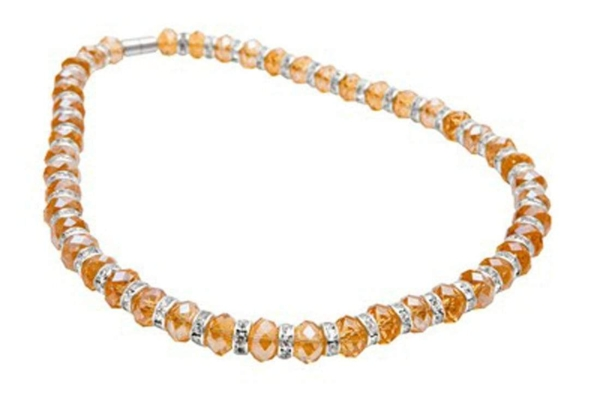 Closeup photo of Crystal Necklace - Citrine Color