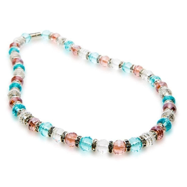 Closeup photo of Crystal Necklace - Clear & Pink & Blue