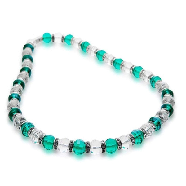 Closeup photo of Crystal Necklace - Clear & Teal Color
