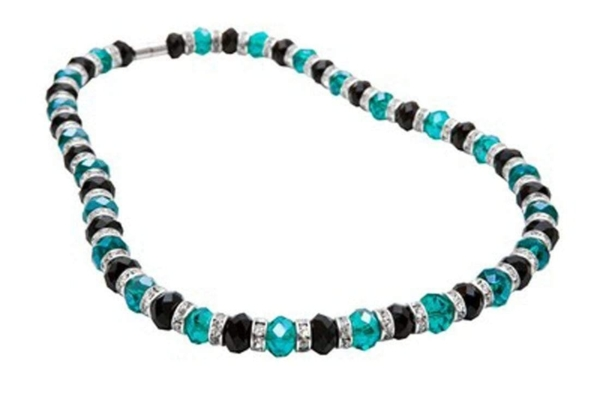 Closeup photo of Crystal Necklace - Black & Teal Color