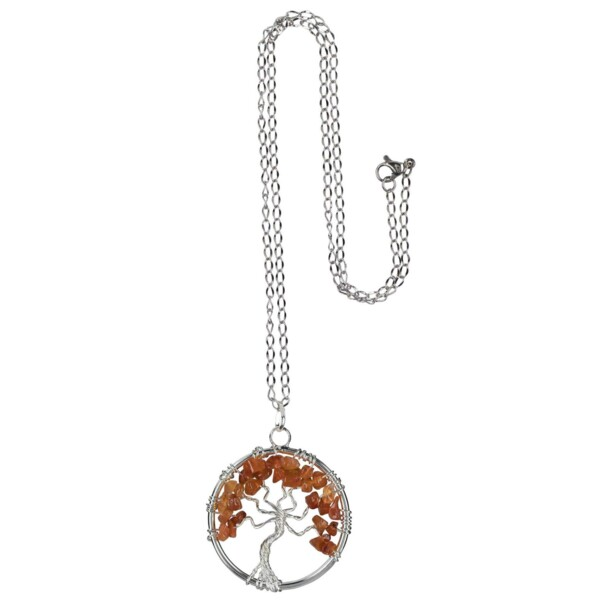 Closeup photo of Carnelian Tree Of Life Necklace