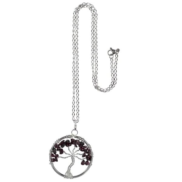 Closeup photo of Garnet Tree Of Life Necklace