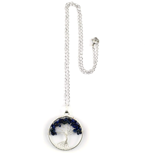 Closeup photo of Lapis Lazuli Tree Of Life Necklace
