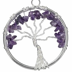 Closeup photo of Amethyst Tree Of Life Pendant