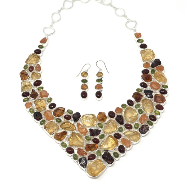 Closeup photo of Fall Colors Multi Gemstone Necklace Set -Citrine-hessonite Garnet-peridot & Carnelian Cabachons