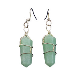 Closeup photo of Aventurine Wire Wrapped Earrings