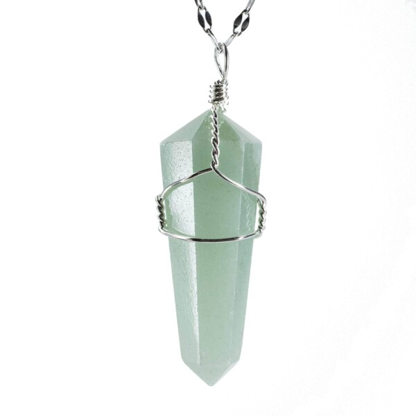 Closeup photo of Aventurine Wire Wrapped Pendant