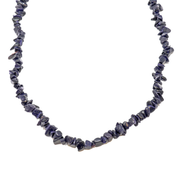 Closeup photo of Blue Goldstone Chip Necklace 36""