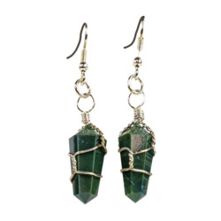 Closeup photo of Bloodstone Wire Wrapped Earrings