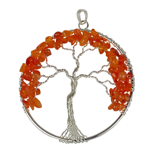 Closeup photo of Carnelian Tree Of Life Pendant