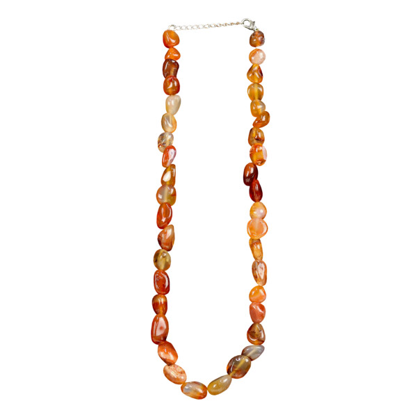 Closeup photo of Carnelian Necklace Tumbled