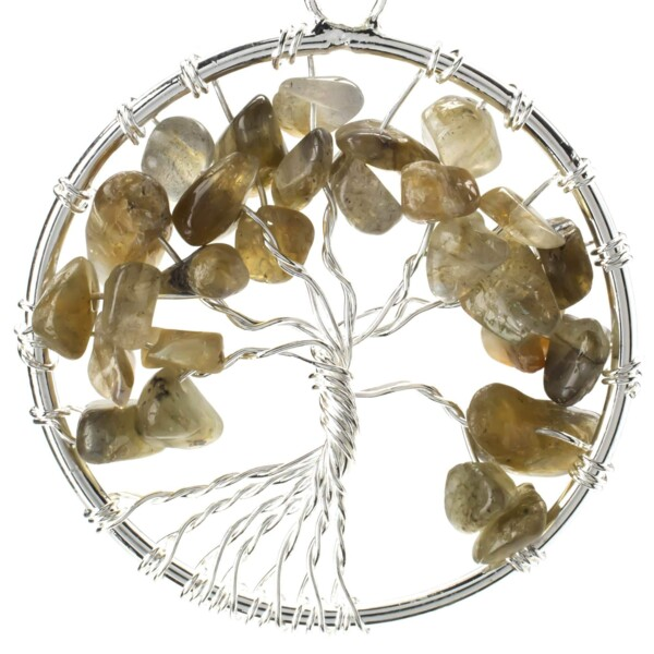 Closeup photo of Labradorite Tree Of Life Pendant