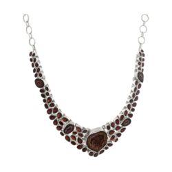 Closeup photo of Red Geode & Garnet Necklace