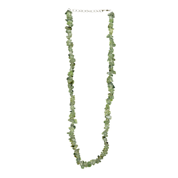 Closeup photo of Prehnite Chip Necklace Choker With Epidote