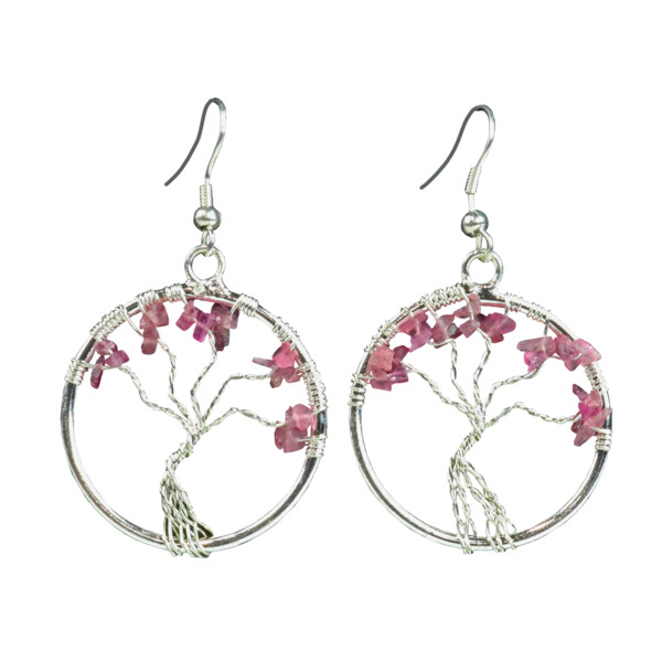 Closeup photo of Pink Tourmaline Tree Of Life Earrings