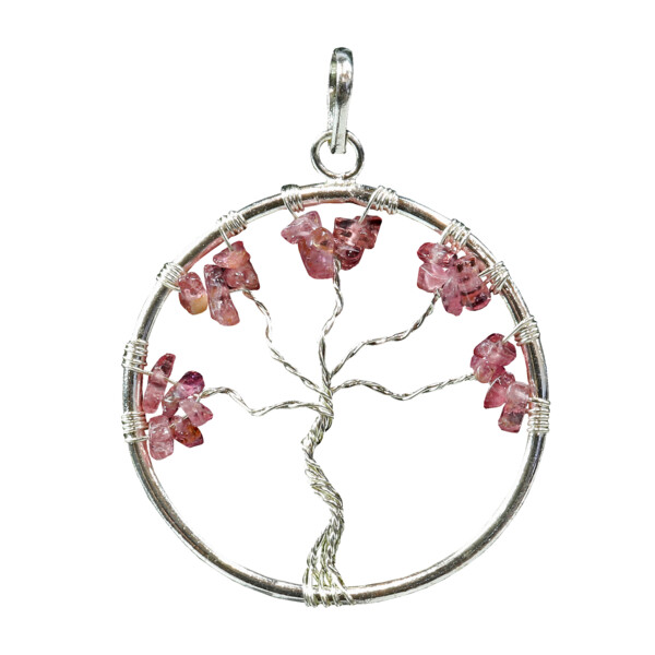 Closeup photo of Pink Tourmaline Tree Of Life Pendant