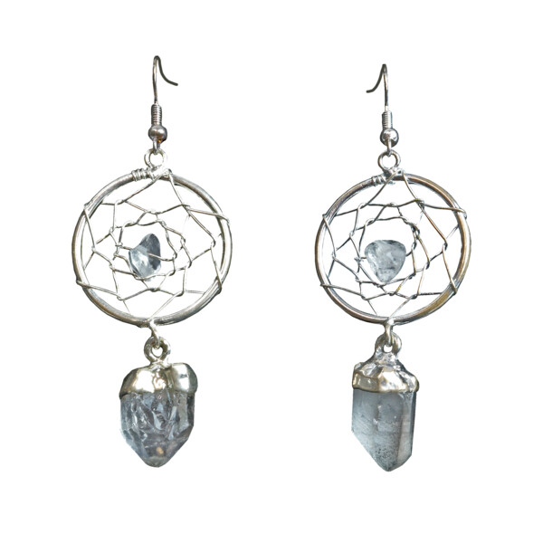 Closeup photo of Quartz Dreamcatcher Earrings