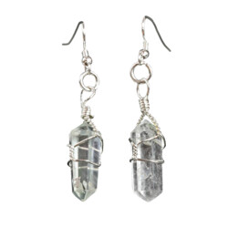 Closeup photo of Quartz Wire Wrapped Earrings