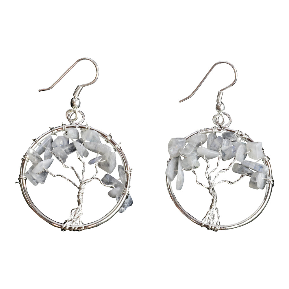 Rainbow Moonstone Tree Of Life Earrings