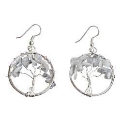 Closeup photo of Rainbow Moonstone Tree Of Life Earrings
