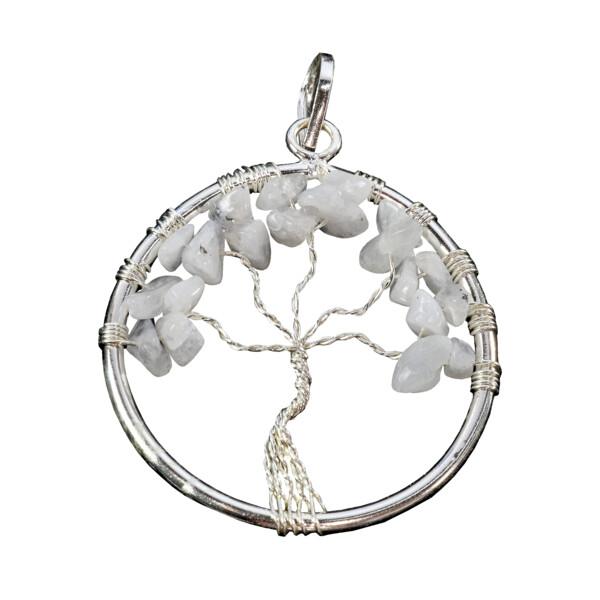 Closeup photo of Rainbow Moonstone Tree Of Life Pendant