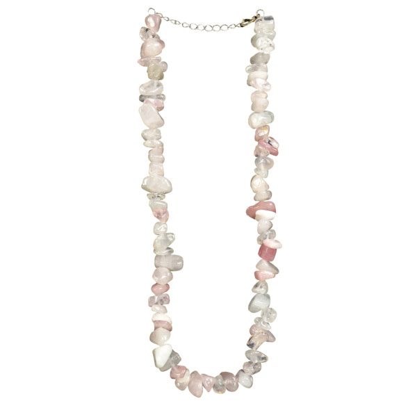 Closeup photo of Rose Quartz Chunk Chip Choker Necklace