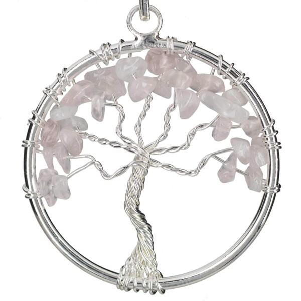Closeup photo of Rose Quartz Tree Of Life Pendant