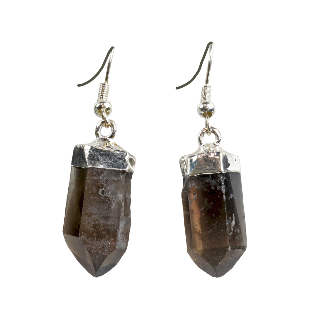 Smoky Quartz Point Earrings - Silver Plated