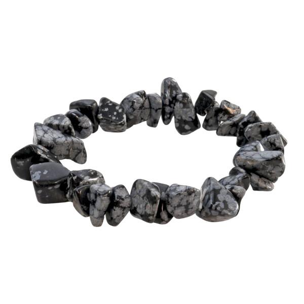 Closeup photo of Snowflake Obsidian Chunky Chip Bracelet