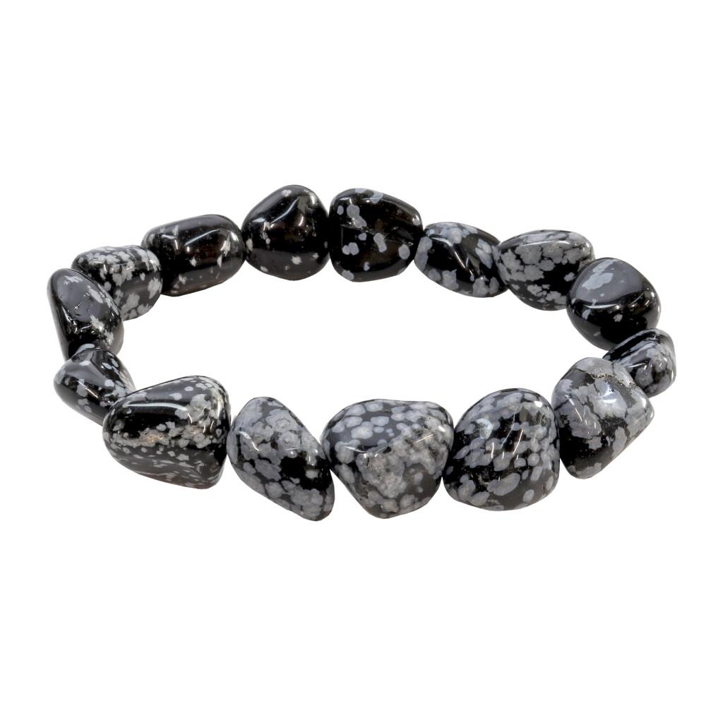 Image 2 for Snowflake Obsidian Tumbled Bracelet
