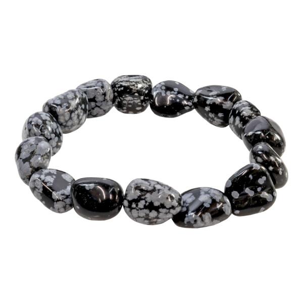 Closeup photo of Snowflake Obsidian Tumbled Bracelet