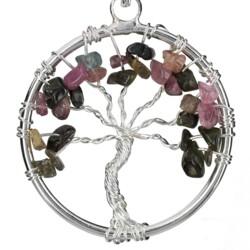 Closeup photo of Multi Tourmaline Tree Of Life Pendant