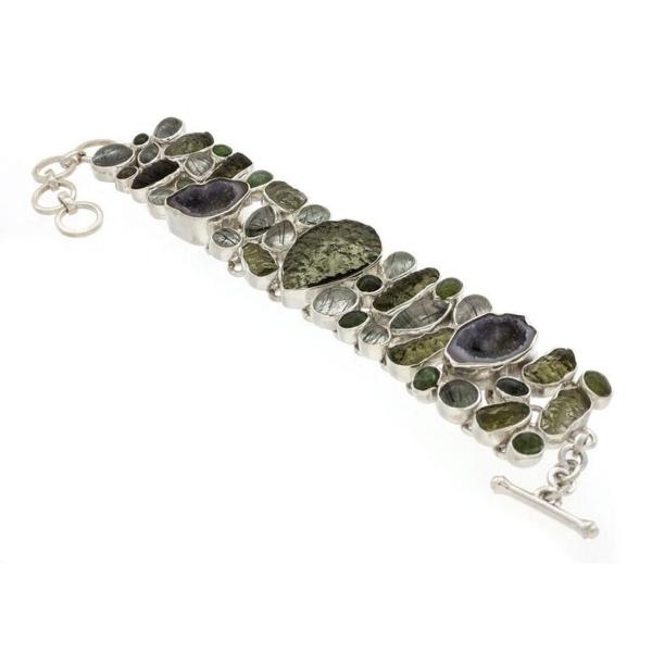 Closeup photo of Moldavite Bracelet With Tourmaline & Tourmalated Quartz & Geodes