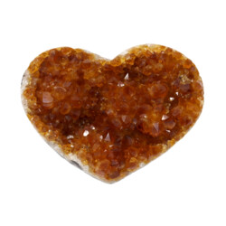 Closeup photo of Citrine Druze Heart On Cluster Stand