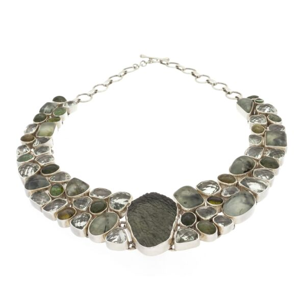 Closeup photo of Moldavite Necklace Collar With Prehnite & Epidote/prasiolite & Tourmaline