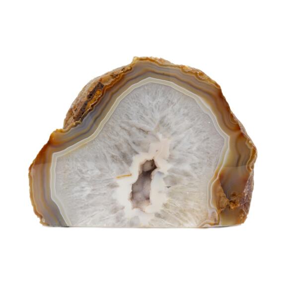 Closeup photo of Agate Cut Base With Cream Center - White & Brown