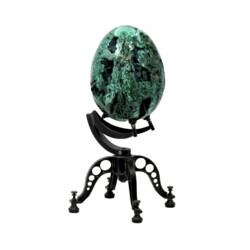 Closeup photo of Malachite Egg On Custom Spinning Stand